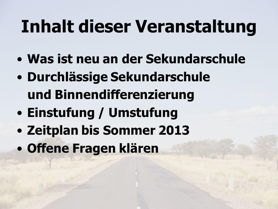 Elterninfo 6.Klasse 20114 Was ist neu an der Sekundarschule.