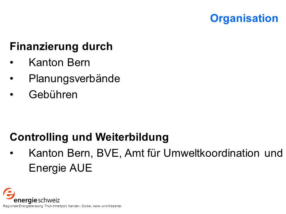Finanzierung durch Kanton Bern Planungsverbände Gebühren Controlling und Weiterbildung Kanton Bern, BVE, Amt für Umweltkoordination und Energie AUE Organisation Regionale Energieberatung Thun-Innertport, Kander-, Gürbe-, Aare- und Kiesental