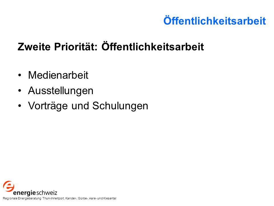 Zweite Priorität: Öffentlichkeitsarbeit Medienarbeit Ausstellungen Vorträge und Schulungen Öffentlichkeitsarbeit Regionale Energieberatung Thun-Innertport, Kander-, Gürbe-, Aare- und Kiesental