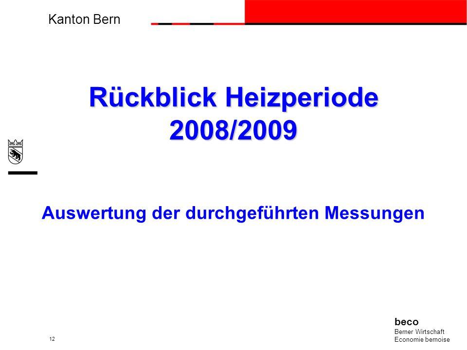 Kanton Bern beco Berner Wirtschaft Economie bernoise 12 Rückblick Heizperiode 2008/2009 Auswertung der durchgeführten Messungen