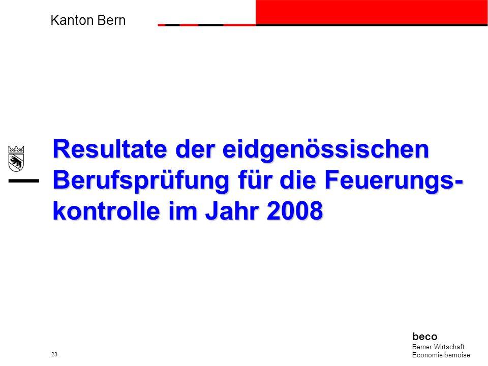 Kanton Bern beco Berner Wirtschaft Economie bernoise 23 Resultate der eidgenössischen Berufsprüfung für die Feuerungs- kontrolle im Jahr 2008