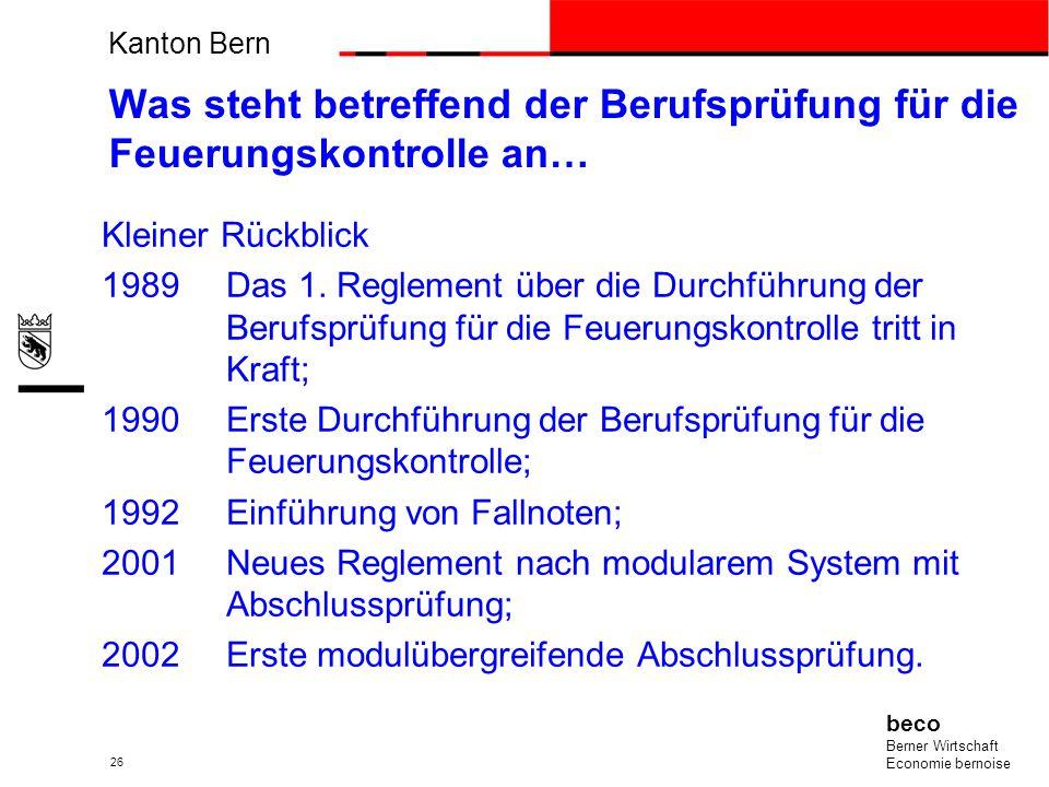 Kanton Bern beco Berner Wirtschaft Economie bernoise 26 Was steht betreffend der Berufsprüfung für die Feuerungskontrolle an… Kleiner Rückblick 1989Da
