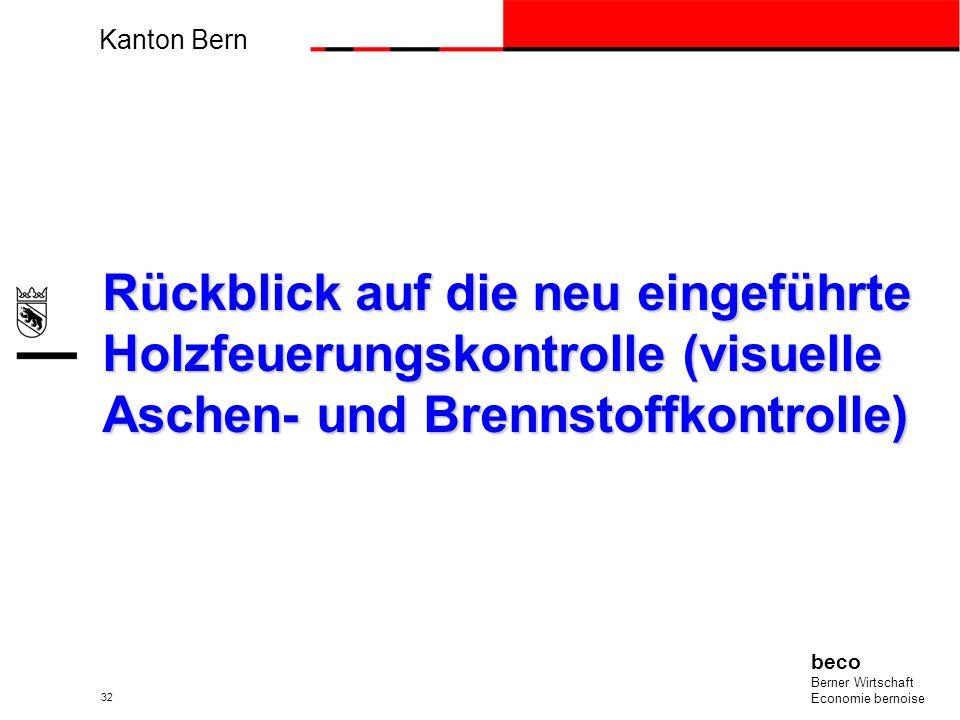 Kanton Bern beco Berner Wirtschaft Economie bernoise 32 Rückblick auf die neu eingeführte Holzfeuerungskontrolle (visuelle Aschen- und Brennstoffkontr