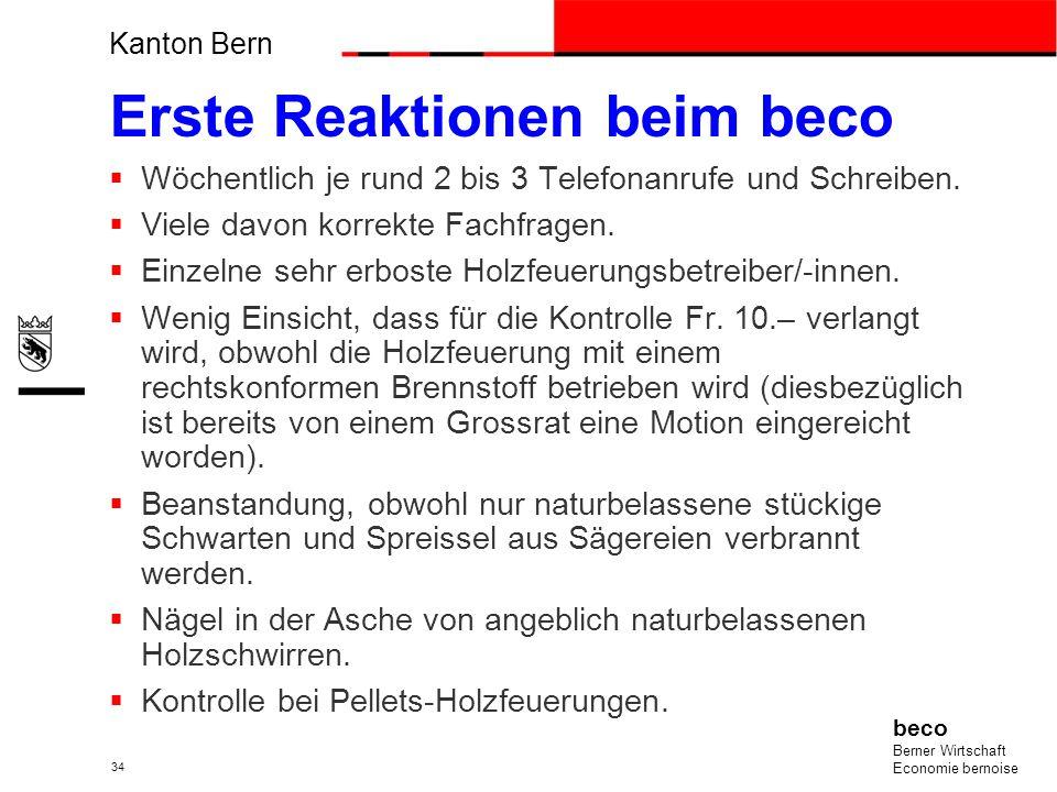 Kanton Bern beco Berner Wirtschaft Economie bernoise 34 Erste Reaktionen beim beco Wöchentlich je rund 2 bis 3 Telefonanrufe und Schreiben. Viele davo