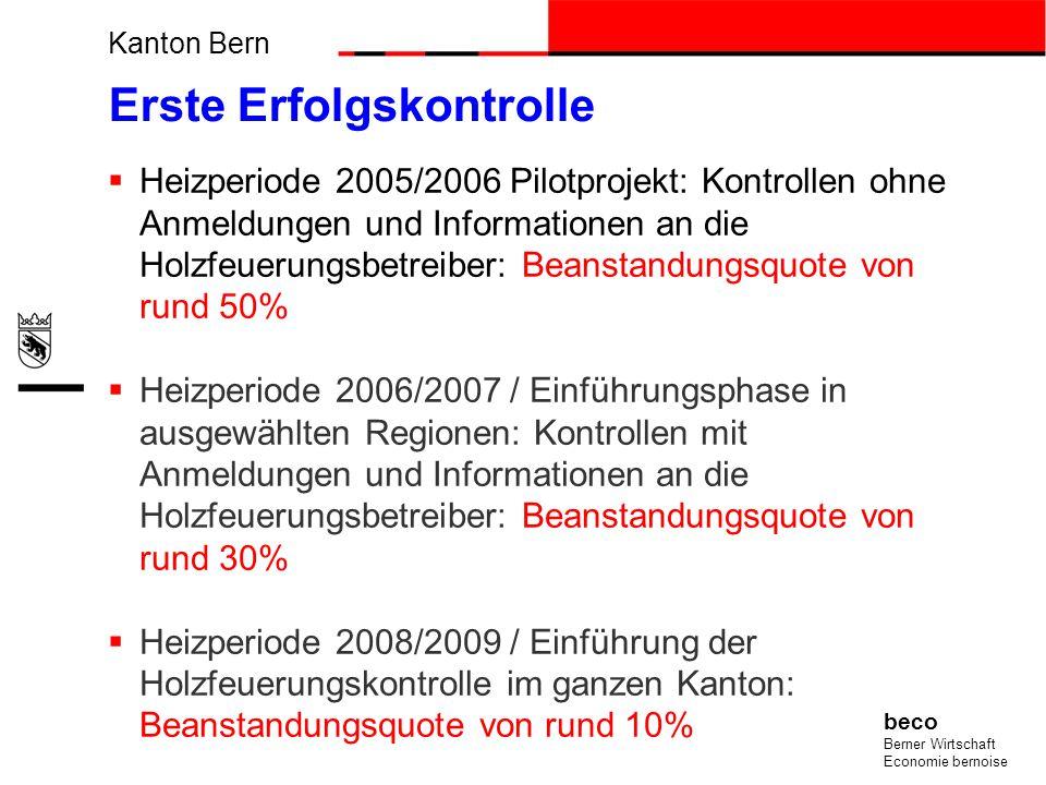 Kanton Bern beco Berner Wirtschaft Economie bernoise Erste Erfolgskontrolle Heizperiode 2005/2006 Pilotprojekt: Kontrollen ohne Anmeldungen und Inform