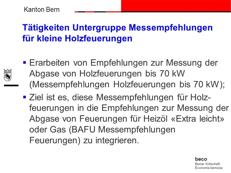 Kanton Bern beco Berner Wirtschaft Economie bernoise Tätigkeiten Untergruppe Messempfehlungen für kleine Holzfeuerungen Erarbeiten von Empfehlungen zu