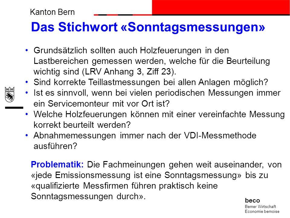 Kanton Bern beco Berner Wirtschaft Economie bernoise Das Stichwort «Sonntagsmessungen» Grundsätzlich sollten auch Holzfeuerungen in den Lastbereichen