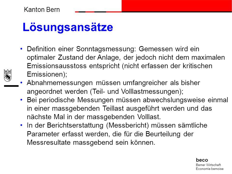 Kanton Bern beco Berner Wirtschaft Economie bernoise Lösungsansätze Definition einer Sonntagsmessung: Gemessen wird ein optimaler Zustand der Anlage,