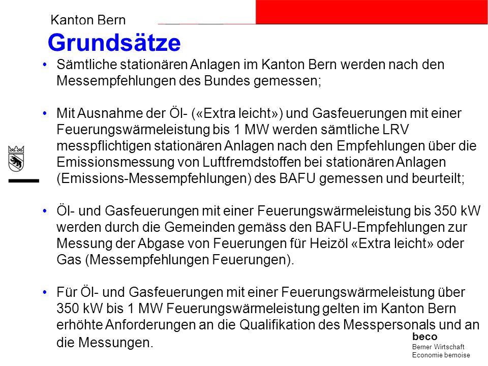 Kanton Bern beco Berner Wirtschaft Economie bernoise Grundsätze Sämtliche stationären Anlagen im Kanton Bern werden nach den Messempfehlungen des Bund