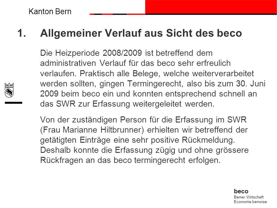 Kanton Bern beco Berner Wirtschaft Economie bernoise 1.Allgemeiner Verlauf aus Sicht des beco Die Heizperiode 2008/2009 ist betreffend dem administrat