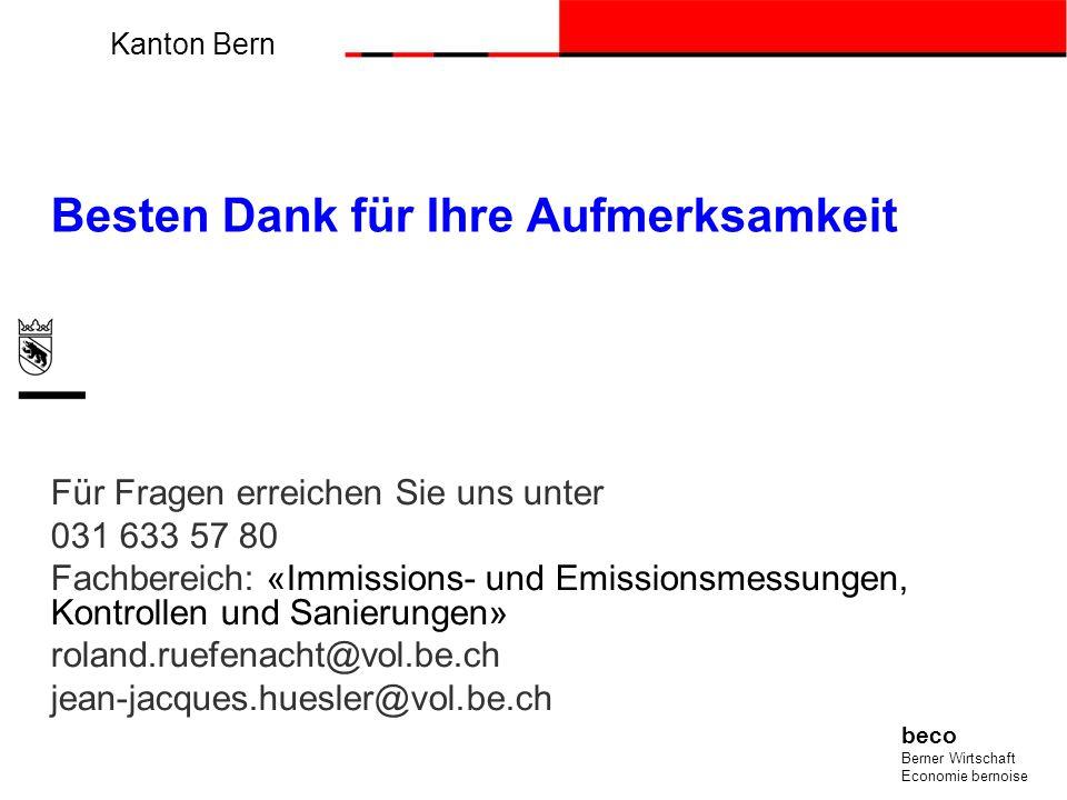 Kanton Bern beco Berner Wirtschaft Economie bernoise Besten Dank für Ihre Aufmerksamkeit Für Fragen erreichen Sie uns unter 031 633 57 80 Fachbereich: