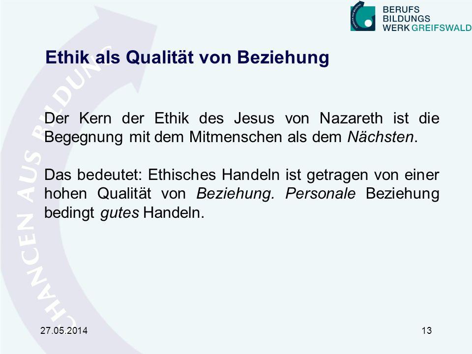 Ethik als Qualität von Beziehung Der Kern der Ethik des Jesus von Nazareth ist die Begegnung mit dem Mitmenschen als dem Nächsten.