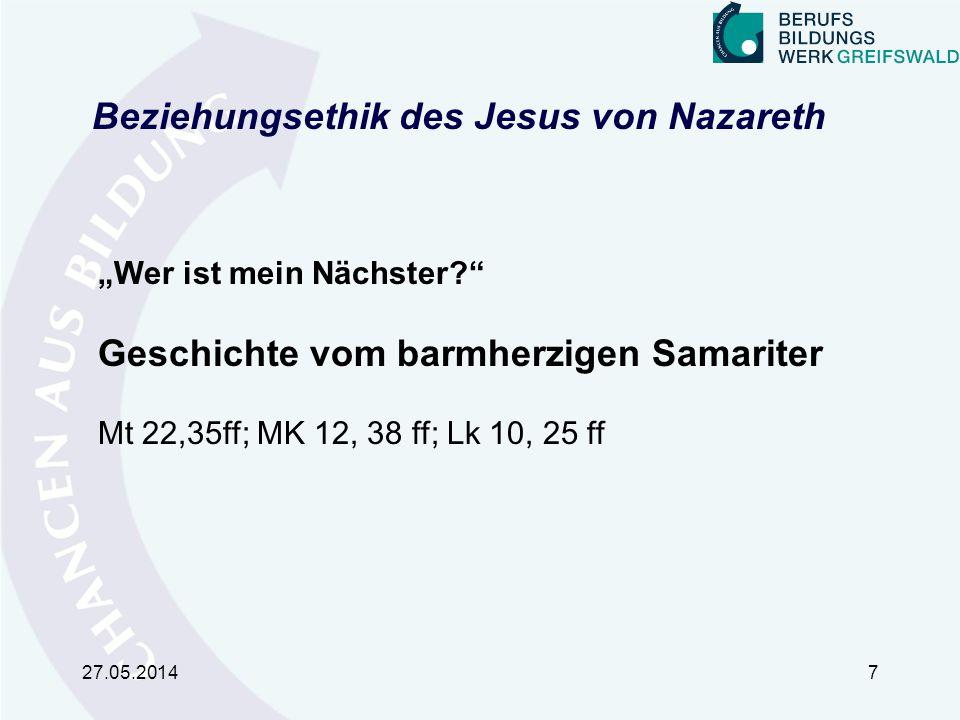 Beziehungsethik des Jesus von Nazareth 1.Die Teilhabe der Ausgegrenzten 2.Nicht wertende Zuwendung 3.