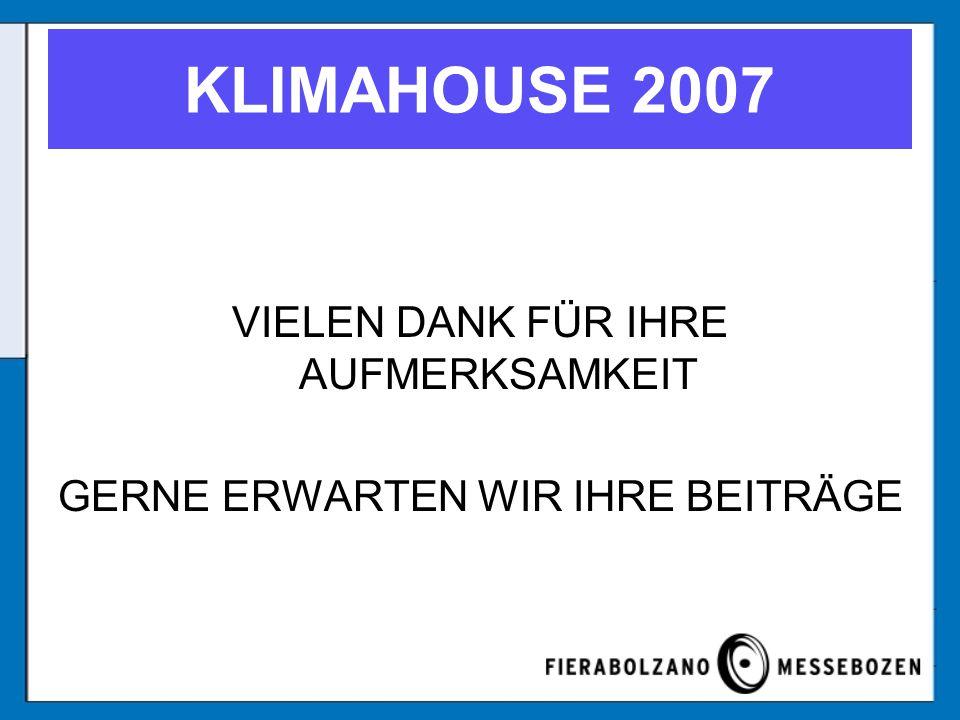 VIELEN DANK FÜR IHRE AUFMERKSAMKEIT GERNE ERWARTEN WIR IHRE BEITRÄGE KLIMAHOUSE 2007