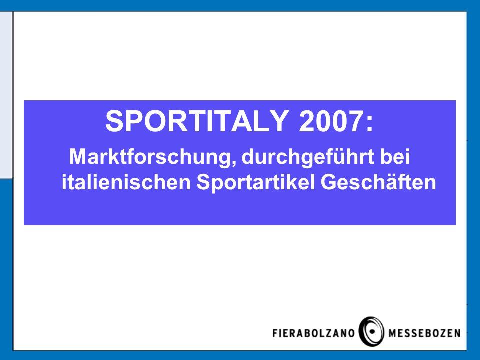 DIE MARKTFORSCHUNG Ausgeführt von: RPM Institut, Verona Forschungsperiode: Februar/März 2006 Befragte: über 300 von den wichtigsten Geschäften in Italien Größe: –1 Verkaufsstelle: 69,2% –Mehr als 1 Verkaufsstelle: 30,4%