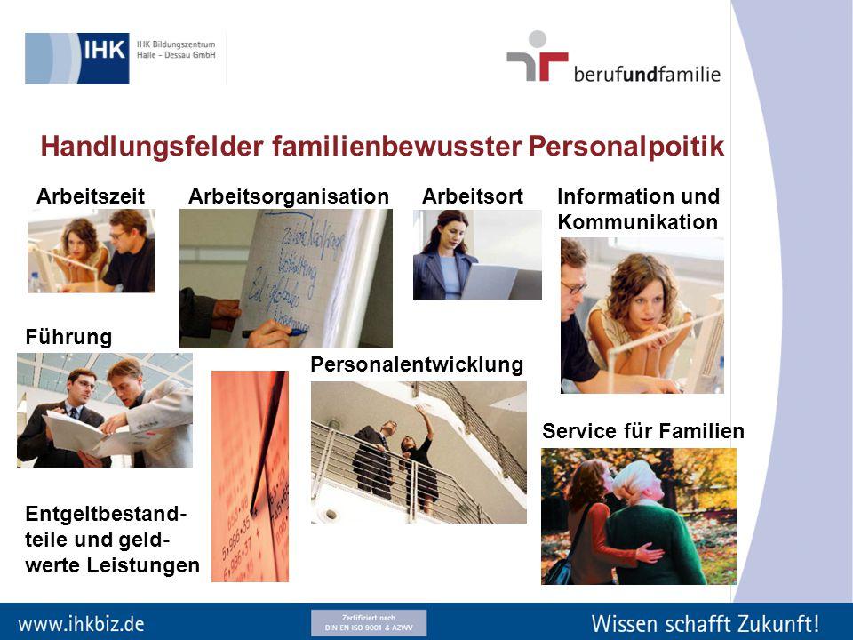 Handlungsfelder familienbewusster Personalpoitik ArbeitszeitArbeitsorganisationArbeitsort Information und Kommunikation Führung Personalentwicklung En