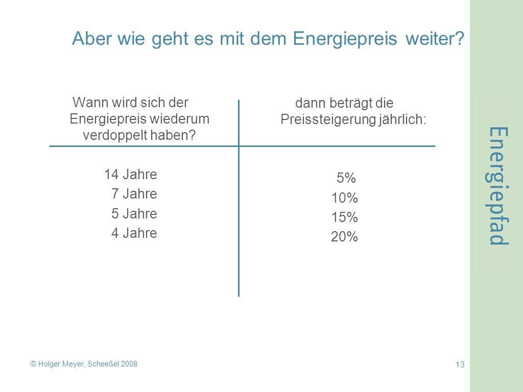 © Holger Meyer, Scheeßel 2008 13 Aber wie geht es mit dem Energiepreis weiter.