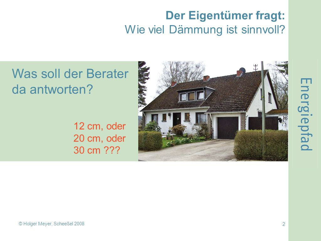 © Holger Meyer, Scheeßel 2008 3 Das Problem des Beraters: Nur mit vielen Worten kann er erklären, wie dick die Dämmung sein sollte.
