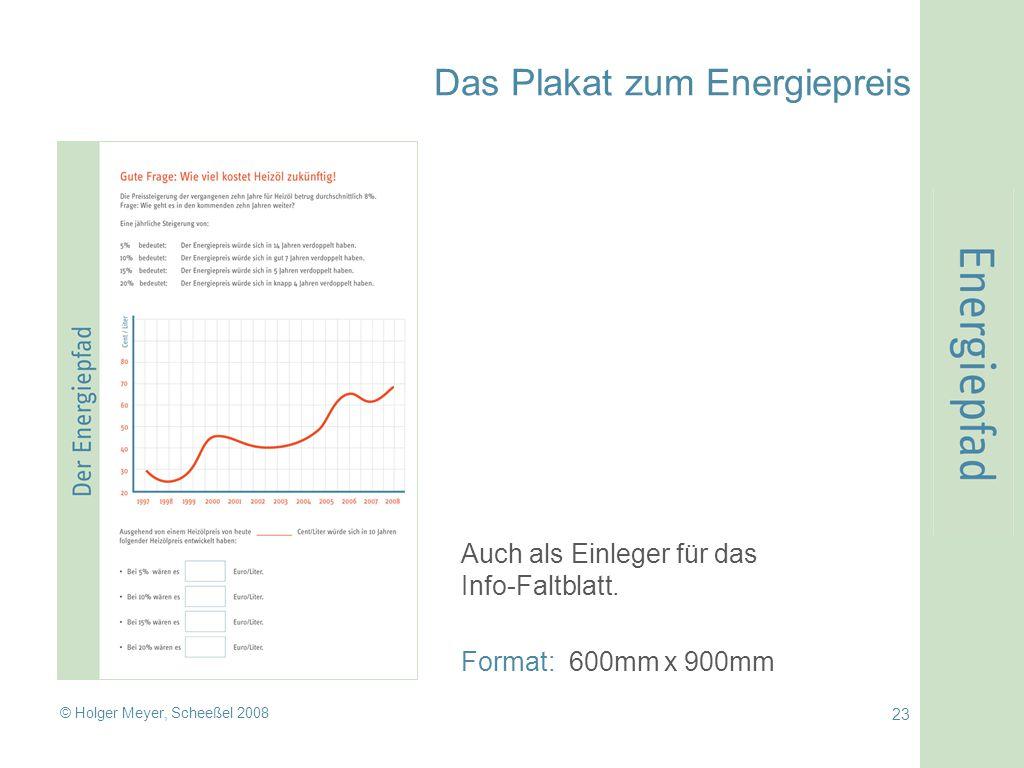 © Holger Meyer, Scheeßel 2008 23 Das Plakat zum Energiepreis Auch als Einleger für das Info-Faltblatt.