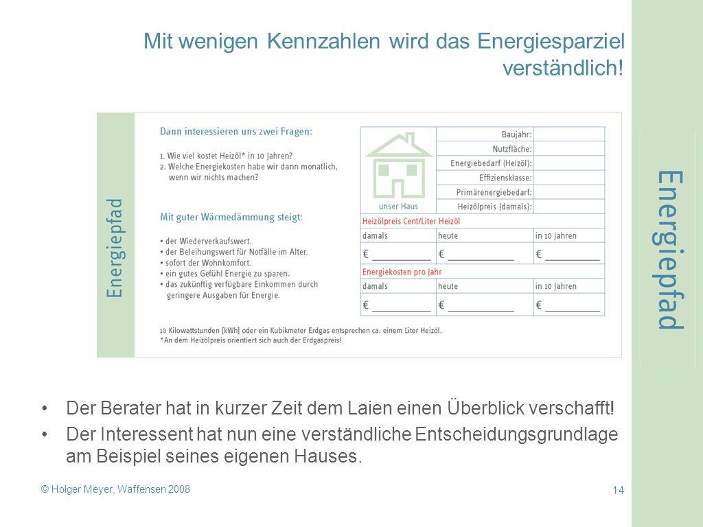 © Holger Meyer, Waffensen 2008 14 Mit wenigen Kennzahlen wird das Energiesparziel verständlich! Der Berater hat in kurzer Zeit dem Laien einen Überbli