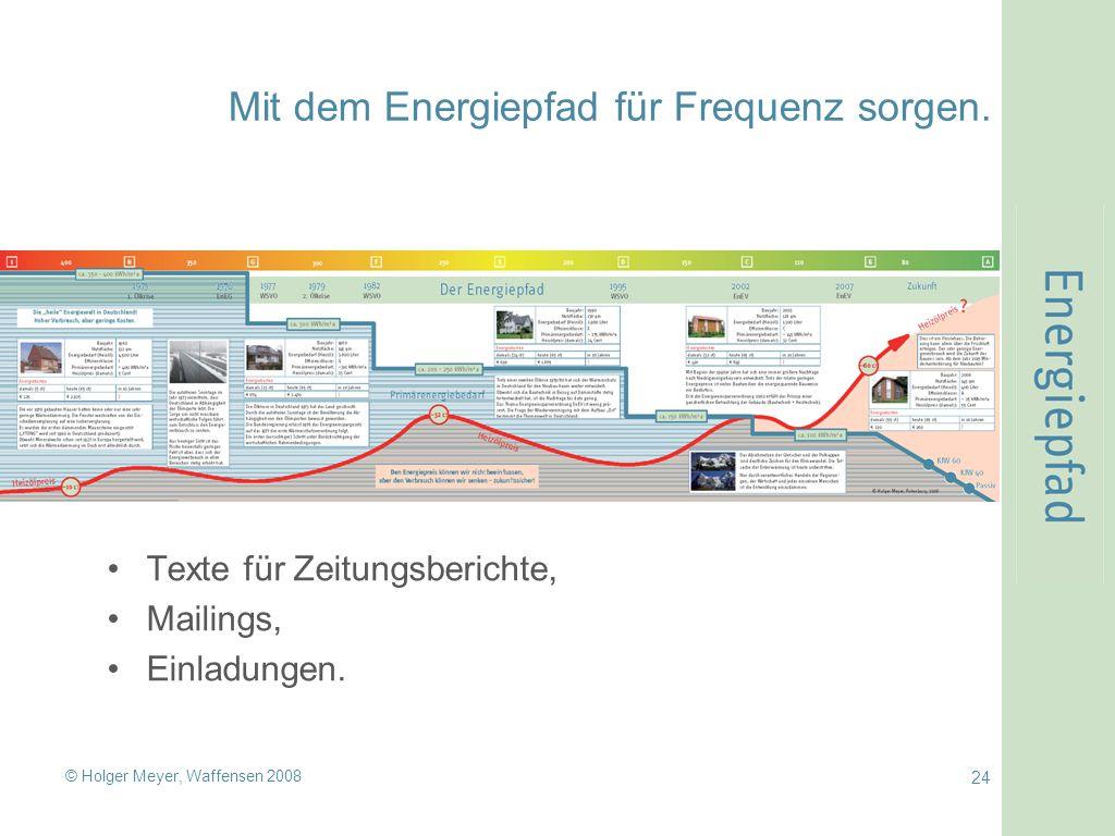 © Holger Meyer, Waffensen 2008 24 Mit dem Energiepfad für Frequenz sorgen. Texte für Zeitungsberichte, Mailings, Einladungen.