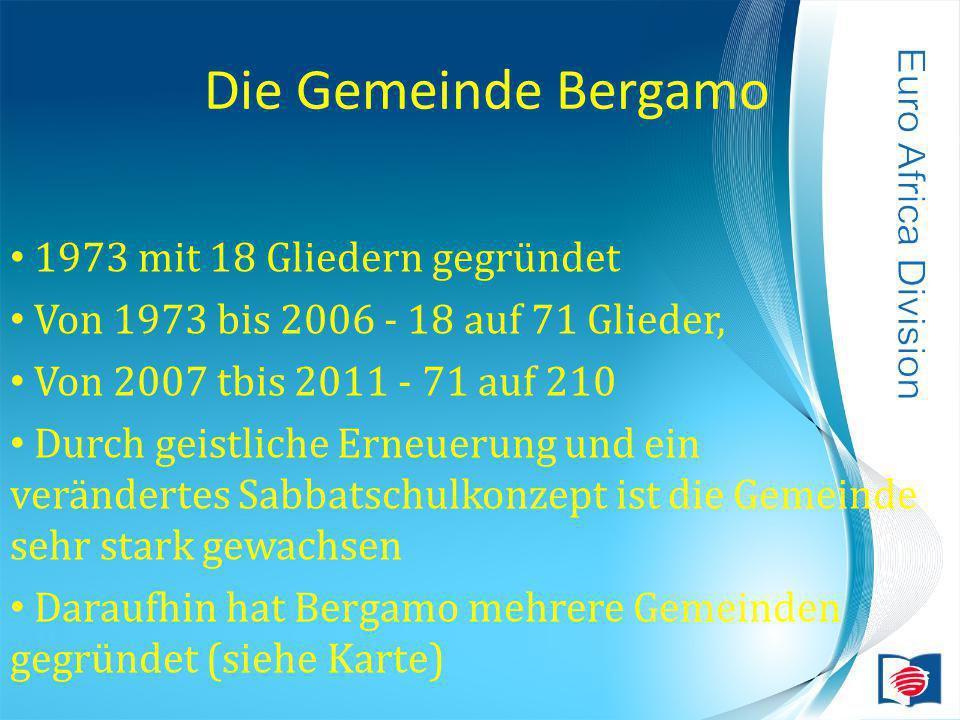 Die Gemeinde Bergamo 1973 mit 18 Gliedern gegründet Von 1973 bis 2006 - 18 auf 71 Glieder, Von 2007 tbis 2011 - 71 auf 210 Durch geistliche Erneuerung