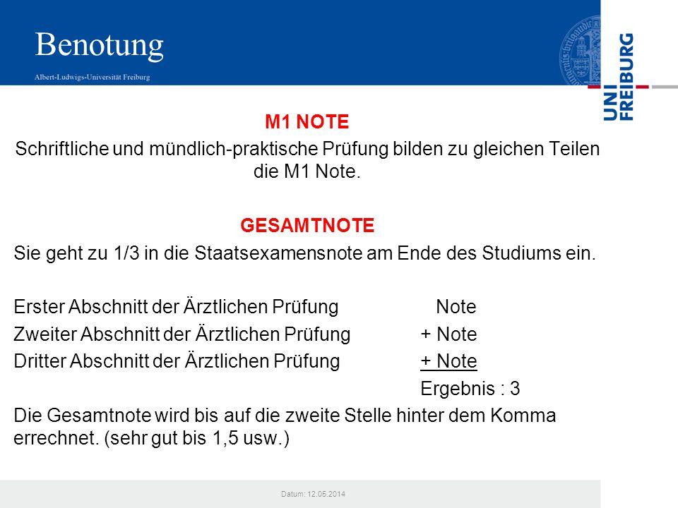 Datum: 12.05.2014 Benotung M1 NOTE Schriftliche und mündlich-praktische Prüfung bilden zu gleichen Teilen die M1 Note. GESAMTNOTE Sie geht zu 1/3 in d