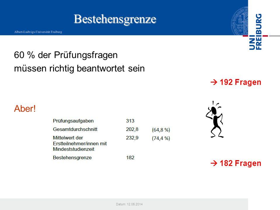 Datum: 12.05.2014 Bestehensgrenze 60 % der Prüfungsfragen müssen richtig beantwortet sein 192 Fragen Aber! 182 Fragen