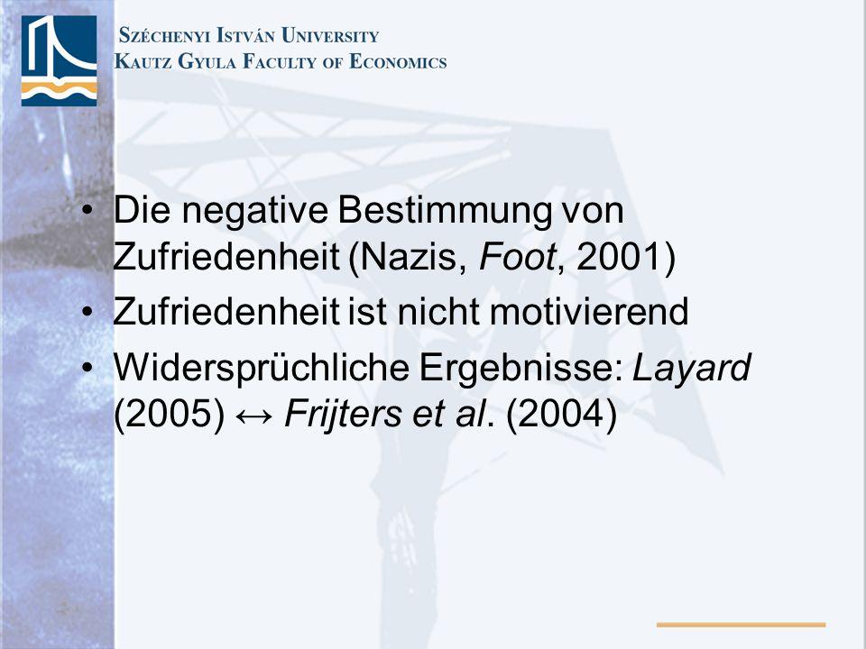 Die negative Bestimmung von Zufriedenheit (Nazis, Foot, 2001) Zufriedenheit ist nicht motivierend Widersprüchliche Ergebnisse: Layard (2005) Frijters