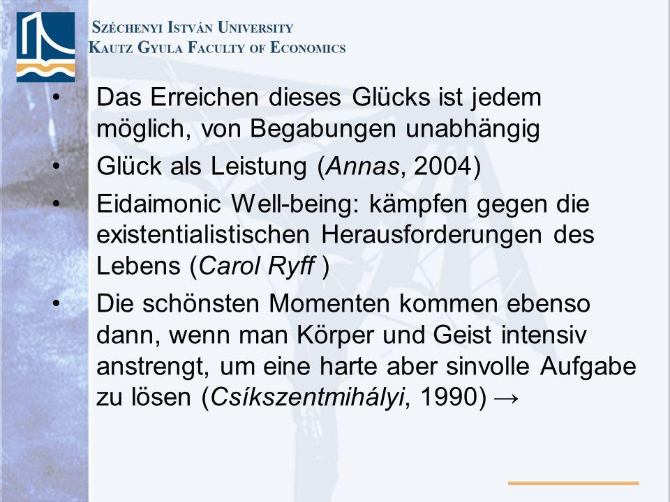 Das Erreichen dieses Glücks ist jedem möglich, von Begabungen unabhängig Glück als Leistung (Annas, 2004) Eidaimonic Well-being: kämpfen gegen die exi