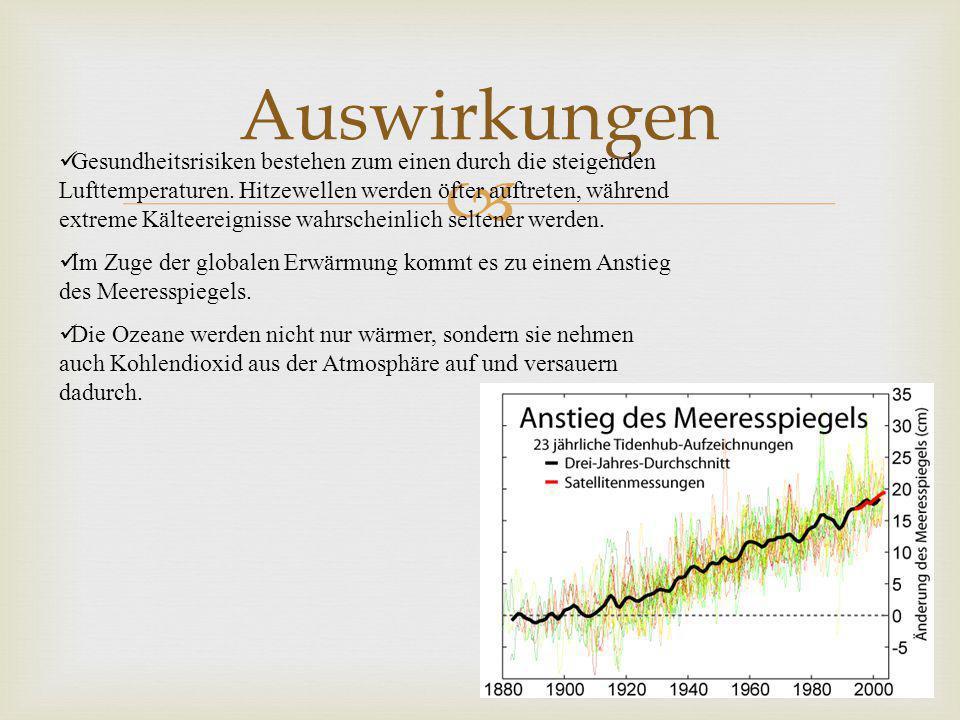 Auswirkungen Gesundheitsrisiken bestehen zum einen durch die steigenden Lufttemperaturen.