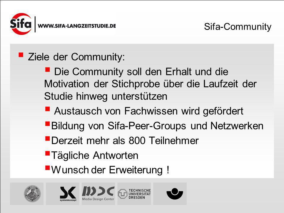 Sifa-Community Ziele der Community: Die Community soll den Erhalt und die Motivation der Stichprobe über die Laufzeit der Studie hinweg unterstützen A