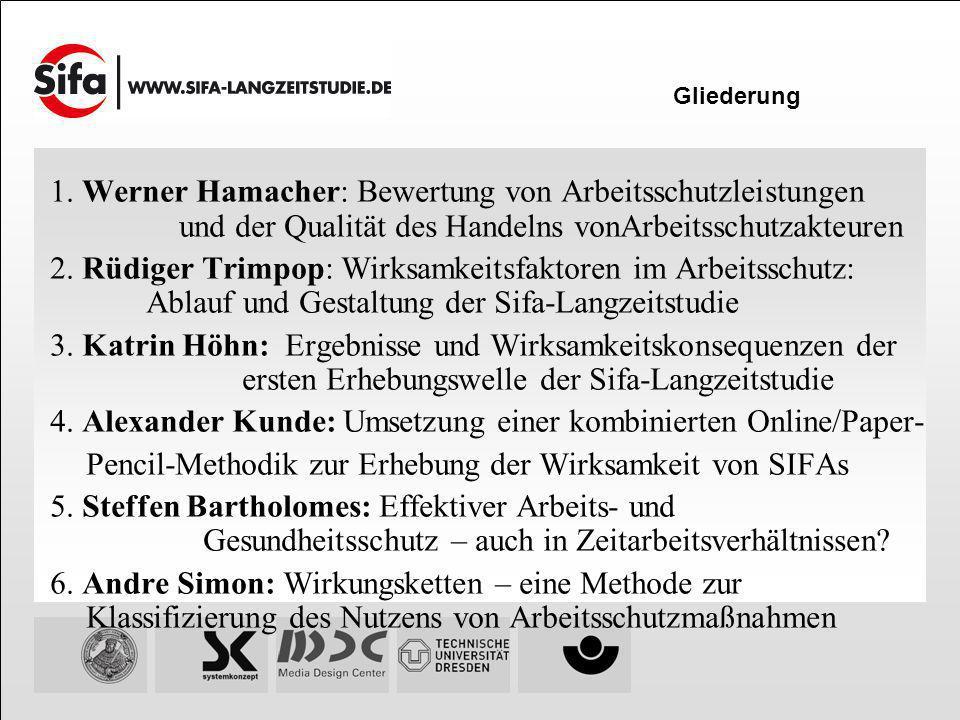 1. Werner Hamacher: Bewertung von Arbeitsschutzleistungen und der Qualität des Handelns vonArbeitsschutzakteuren 2. Rüdiger Trimpop: Wirksamkeitsfakto