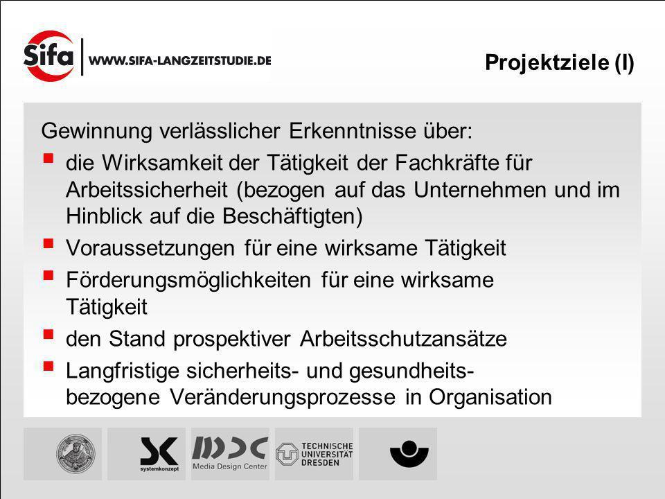 Projektziele (I) Gewinnung verlässlicher Erkenntnisse über: die Wirksamkeit der Tätigkeit der Fachkräfte für Arbeitssicherheit (bezogen auf das Untern