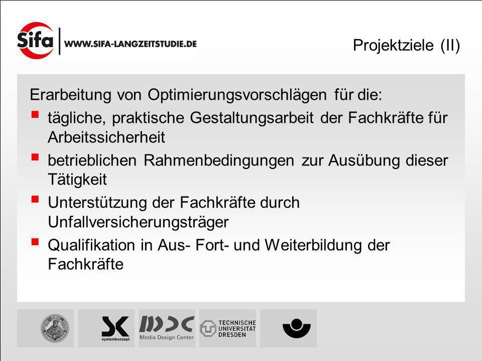 Projektziele (II) Erarbeitung von Optimierungsvorschlägen für die: tägliche, praktische Gestaltungsarbeit der Fachkräfte für Arbeitssicherheit betrieb