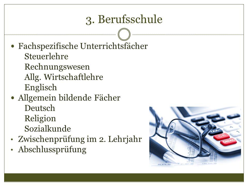 3. Berufsschule Fachspezifische Unterrichtsfächer Steuerlehre Rechnungswesen Allg. Wirtschaftlehre Englisch Allgemein bildende Fächer Deutsch Religion