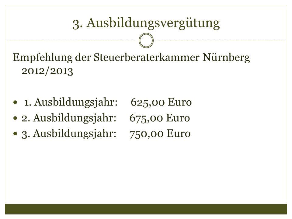 3. Ausbildungsvergütung Empfehlung der Steuerberaterkammer Nürnberg 2012/2013 1. Ausbildungsjahr: 625,00 Euro 2. Ausbildungsjahr: 675,00 Euro 3. Ausbi