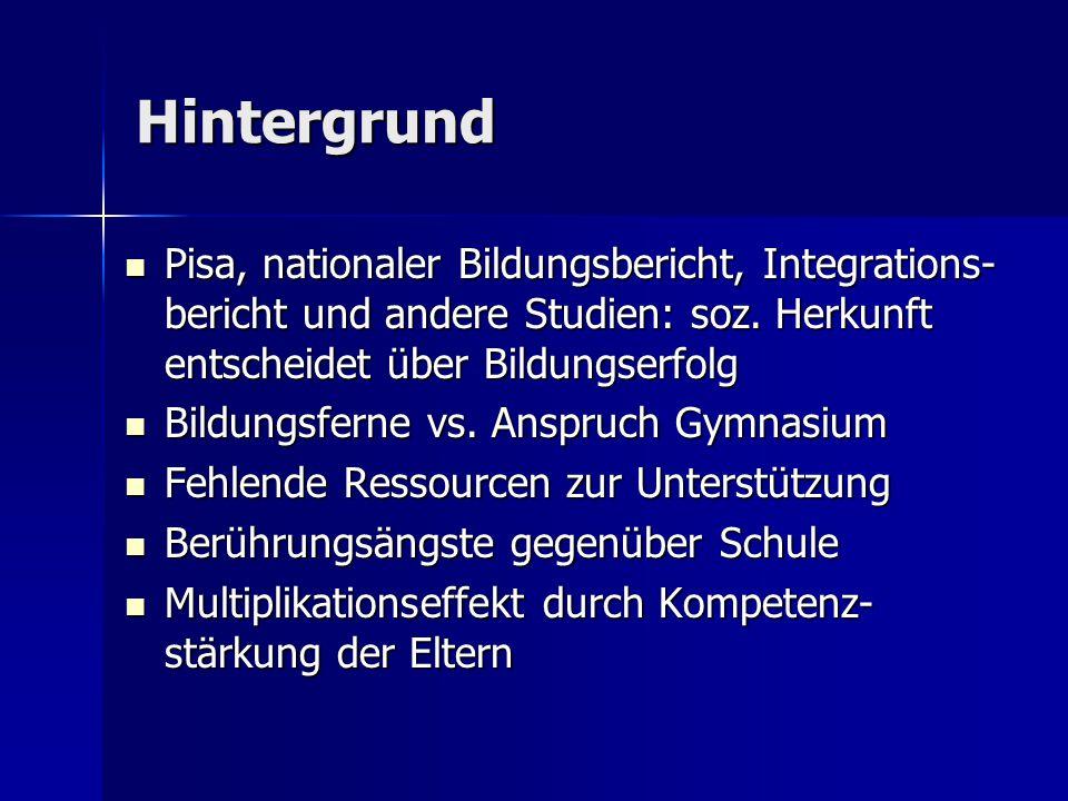 Hintergrund Pisa, nationaler Bildungsbericht, Integrations- bericht und andere Studien: soz.