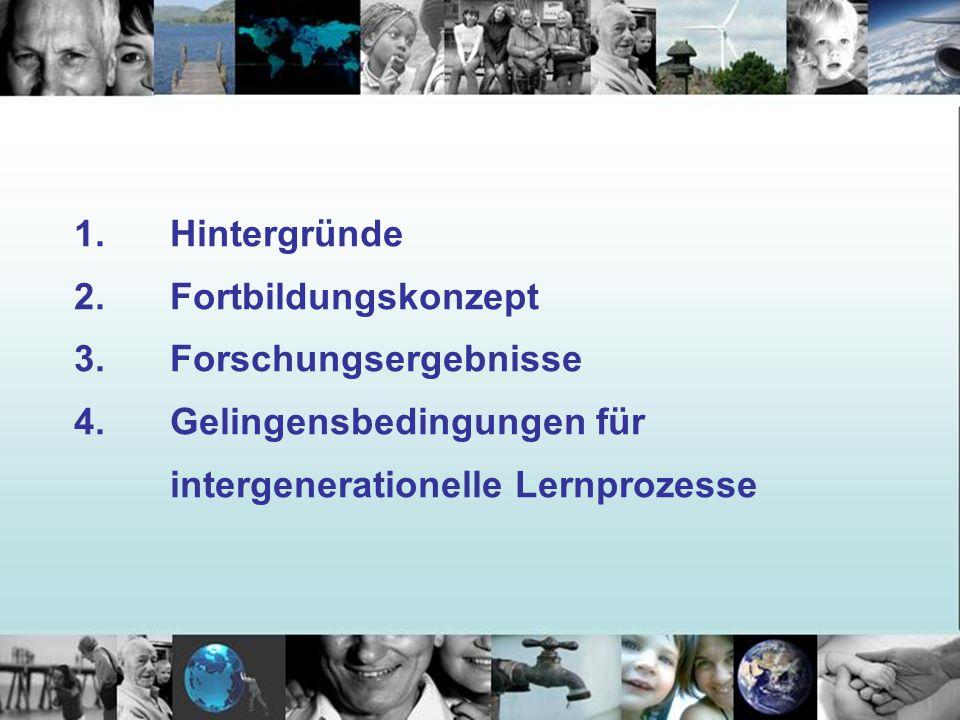 1. Hintergründe 2. Fortbildungskonzept 3. Forschungsergebnisse 4. Gelingensbedingungen für intergenerationelle Lernprozesse