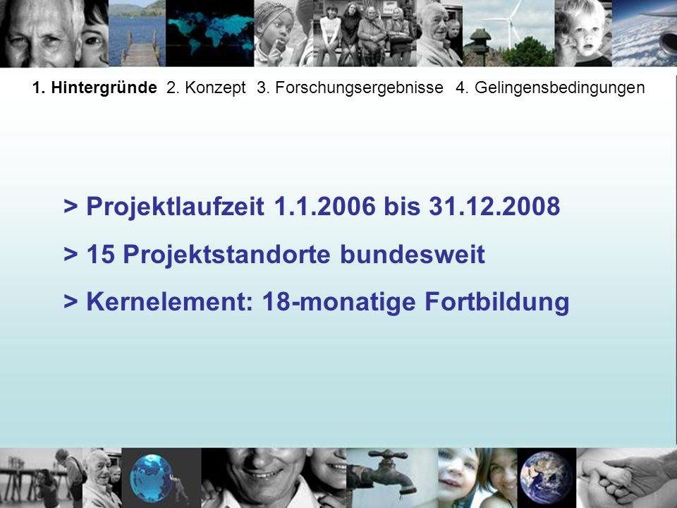 > Projektlaufzeit 1.1.2006 bis 31.12.2008 > 15 Projektstandorte bundesweit > Kernelement: 18-monatige Fortbildung 1. Hintergründe 2. Konzept 3. Forsch