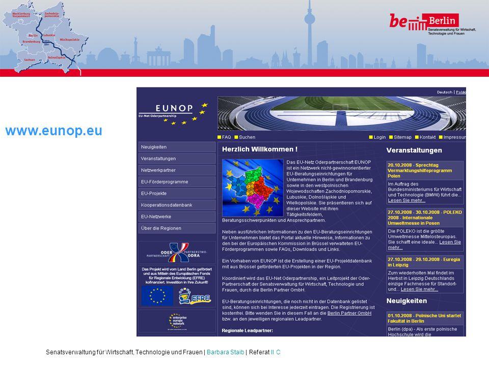 Senatsverwaltung für Wirtschaft, Technologie und Frauen | Barbara Staib | Referat II C www.eunop.eu
