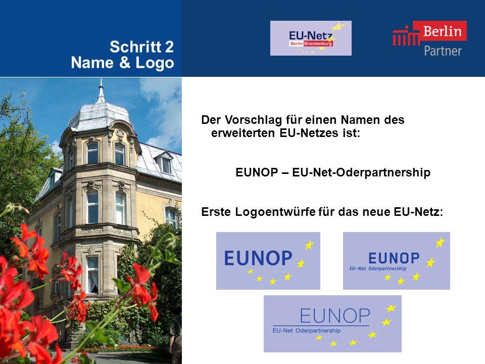 Schritt 2 Name & Logo Der Vorschlag für einen Namen des erweiterten EU-Netzes ist: EUNOP – EU-Net-Oderpartnership Erste Logoentwürfe für das neue EU-Netz: