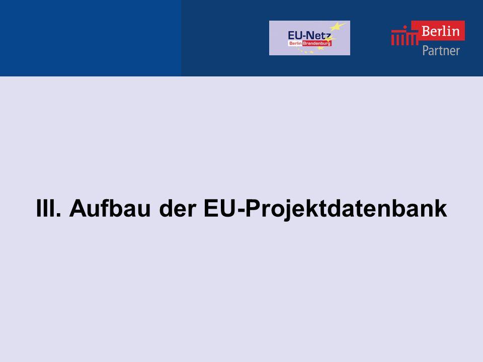 III. Aufbau der EU-Projektdatenbank