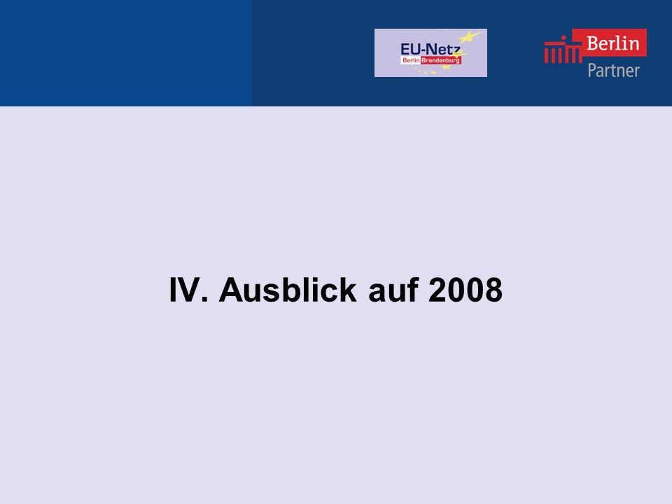 IV. Ausblick auf 2008
