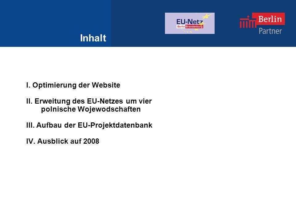 Inhalt I. Optimierung der Website II.