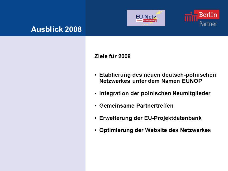 Ausblick 2008 Ziele für 2008 Etablierung des neuen deutsch-polnischen Netzwerkes unter dem Namen EUNOP Integration der polnischen Neumitglieder Gemeinsame Partnertreffen Erweiterung der EU-Projektdatenbank Optimierung der Website des Netzwerkes