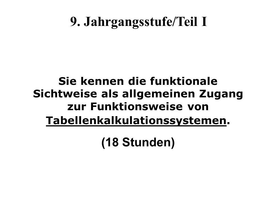 9. Jahrgangsstufe/Teil I Sie kennen die funktionale Sichtweise als allgemeinen Zugang zur Funktionsweise von Tabellenkalkulationssystemen. (18 Stunden