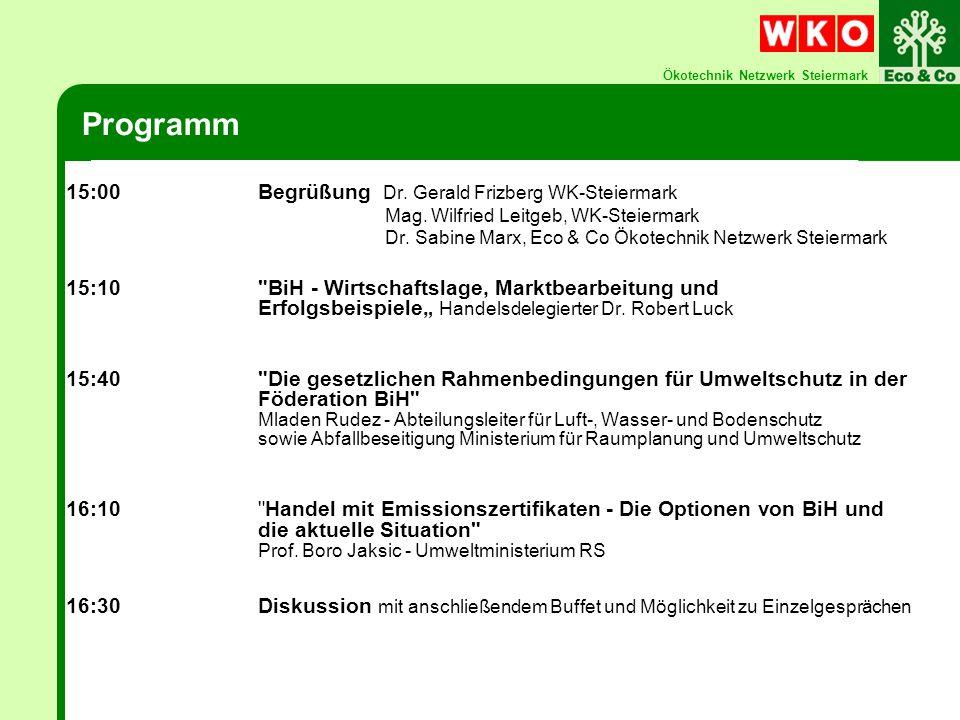 Ökotechnik Netzwerk Steiermark Bosnien u.Herzegowina Österreich Fläche ca.