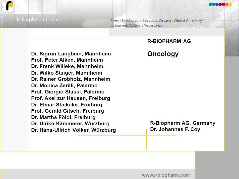 www.r-biopharm.com R-BIOPHARM AG Oncology R-Biopharm AG, Germany Dr. Johannes F. Coy Dr. Sigrun Langbein, Mannheim Prof. Peter Alken, Mannheim Dr. Fra