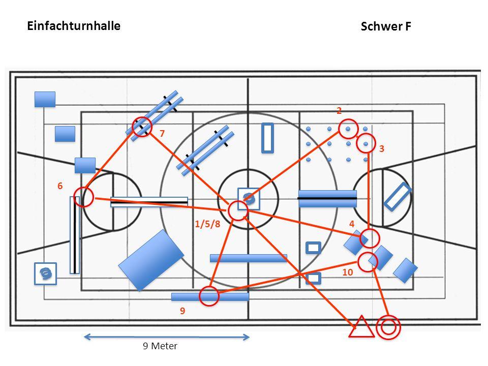 Einfachturnhalle 9 Meter 7 9 6 2 4 3 1/5/8 10 Schwer F